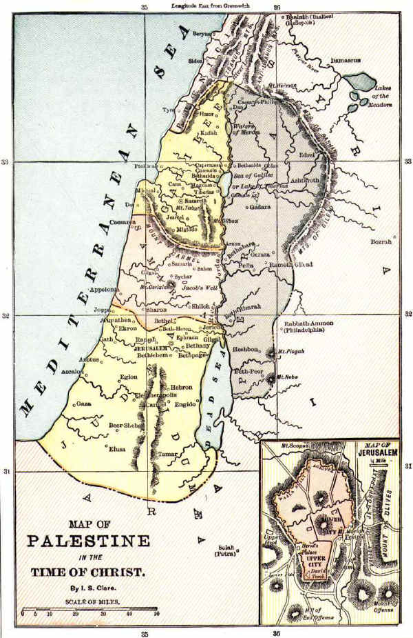 Bible map of the Holy Land in times of Jesus Christ